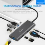 New 9 in 1 Type-C HUB Docking Station Ethernet Adapter with USB 3.0 & PD Charging&3.5MM TF Card Reader & Camera Card Reader 4K HDMI