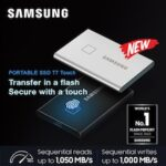 SAMSUNG T7 Touch Portable SSD 500GB 1TB – Up to 1050MB/s – USB 3.2 External Solid State Drive