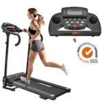 Treadmill for Home Use Foldable Electric Fitness Device Treadmill with LCD Display Tablet Holder Stowable Compact 12 Pre-programs 1-10km / h