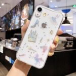 Glitter Bling Epoxy Little Pegasus House  Case for IPhone 11 Pro X XR XS Max 7 8 6 6s Plus Clear Planet Phone Cases Soft TPU Back Cover