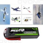 OVONIC Lipo RC battery 2 packs 11.1 V 8000mAh 50C 3S with Deans T connector for RC airplane