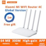 NEW Original Xiaomi Mi WIFI Router 4C 64 RAM 300Mbps 2.4G 802.11 b/g/n 4 Antennas Band Wireless Routers WiFi Repeater APP Control –  Original US Plug