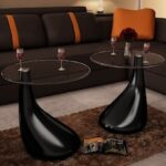 vidaXL Coffee Table Side table 2 pcs with Round Glass Top High Gloss