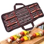 Outdoor BBQ Spit Roast Sign Wooden Handle Stainless Steel U-shaped Spit 5 Set
