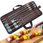 Outdoor BBQ Tools Set Stainless Steel Barbecue Fork with Wooden Handle U-shaped Barbecue Skewer 7PCS
