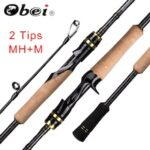 Obei Casting Spinning Fishing Rod 2.1 2.4m M/MH Travel Street Bait 2tips Fast Rod Vara De Pesca 13-39g