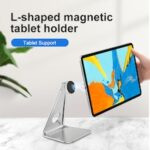 Tablet Stand 360 Rotation Metal L-shaped Magnetic Tablet holder Tabletand Bracket Universal Desktop Stand for iPad