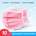 OLAF Disposable Mouth Mask Pink Face Masks Non-Woven Mask Anti-Dust 3 Layers Filter Activated Anti Pollution Face Mouth Mask Nonmedical