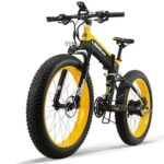 LANKELEISI XT750PLUS 48V12.8AH 500W Powerful Electric Bike 26inch 4.0 Fat Tire Shimano 27 Speed Snow MTB Folding Electric Bike