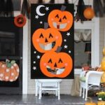Halloween Outdoor Pumpkin Print Hanging Toss Game Felt With 3Pcs Bean Bags