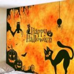 Halloween Home Decoration Cartoon Pumpkin Black Cat Pattern Tapestry