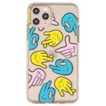 Color Contrasting Gesture Funny Emoticon Pattern TPU Phone Case Cover Shell for iPhone