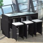 7 Piece Garden Bar Set with Cushions Poly Rattan Black