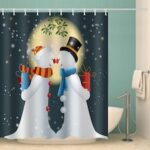 Christmas Snowman Couple Printing Pattern Waterproof Shower Curtain Polyester Material Home Decoration