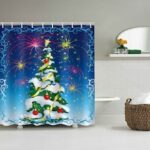 Christmas Tree Star Print Pattern Waterproof Shower Curtain Polyester Material Home Decoration