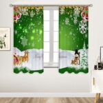 Christmas Green Elk Snowflake Bell Printing Pattern Home Decoration Curtain Polyester Material