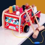 Children's Wooden Cartoon Car Hitting Hamster Toy Geometric Shape Baby Tapping Game Toys
