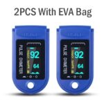 2PCS Digital Finger Oximeter Portable Electronic LED Display Fingertip Pulse Oximeter Heart Rate Monitor Blood Saturation Meter With EVA Bag