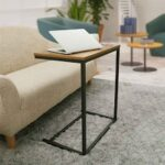 Vintage C Shape Coffee Table Wooden Metal Frame Sofa Side Table End Table Home computer Desk Storage Holders Furniture