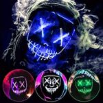Party Halloween Purge Mask Light Up Scary Mask EL Wire LED Mask for Festival Party Gifts
