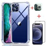 For iPhone 12 Pro  Transparent Case And Screen Protector Glass And  Camera Lens