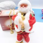 Creative Plush Santa Claus Toy With Pearkeep Strings, Electric Santa Shopping Mall Decoration