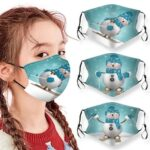 Merry Christmas Snowman Printed Air Layer Fabric Face Mask