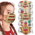 Merry Christmas Gift Bag Printed Air Layer Fabric Face Mask
