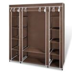 Wardrobe with Compartments and Rods 45 x 150 x 176 cm