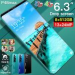 P48 Max Smartphone MT6799 Quad Core 6.3 inch HD+ 8GB RAM + 512GB ROM 13MP + 32MP Android 10.0 Cameras 4800mAh Battery Face ID Unlock