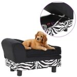 Dog Sofa Black 57x34x36 cm Plush