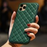 Ribbed Checked Leather Phone Case Cover Thickening Silicone for iPhone 11 Pro / 11 / 11 Pro Max