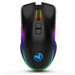 HXSJ T26 2.4G Wireless Mouse Type-C Rechargeable Interface Seven Buttons Gaming Mouse RGB Light