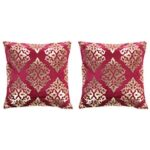 Cushions 2 pcs Foil Print  40×40 cm Velvet Maroon and Gold
