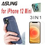 3IN1 Screen Protection Film Camera Protection Film Litchi Leather Series Phone Case for iPhone 12 Mini/12/12 Pro/12 Pro Max