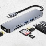 028 Multifunctional Converter 6-in-1 Expansion USB C Hub Dock Type C PD Fast Charge Applicable to Huawei MacBook