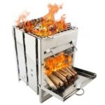 Mini Outdoor Firewood Stove Camping Cooking Picnic Travel Stainless Steel Square Wood Stove Charcoal Folding Grill