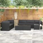 9 Pieces Garden Lounge Set with Cushions Poly Rattan Black
