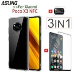 3IN1 Screen Protection Film Camera Protection Film Transparent Four-corner Anti-drop Phone Case for Xiaomi POCO X3 NFC