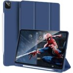 Magnetic Leather Case for iPad Pro 12.9 2020 2018 Trifold Smart Case with Auto Sleep Wake with Stand Pen Holder Support wireless Charging