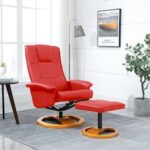 Swivel TV Armchair with Foot Stool Black Faux Leather