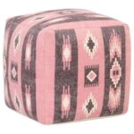 Pouffe Printed Design Beige and Black 45x45x45 cm Cotton