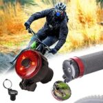 Mini Bicycle Handlebar End Rearview Mirror with 3 Modes Warning Light Lamp 360 Degree Rotatable Cycling Accessories