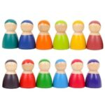 Educational Toy 12 Color Rainbow Small Figure Set Wooden Tray Children Toys