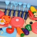 Children Simulated Fruits and Vegetable Cuts Kitchen Pretend Play Early Learning Toy Kit
