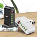 USLION US0148 5-port USB Mobile Phone Charger 5V4A US / EU Plug Desktop Travel Intelligent LED Digital Display Power Adapter