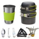 Outdoor Cookware Set 1-2 People Camping Stove Set Combination Portable Wild Menu Tableware