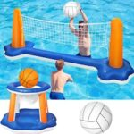 Inflatable Pool Float Set Volleyball Net and Basketball Hoops Floating Pool Swimming Game Toys Water Inflatable Sports Set for Kids