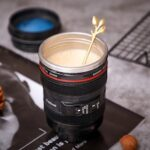 SLR Camera Lens Water Cup Couple Boys Handy Cup Personalized Stainless Steel Leak-proof Coffee Cup