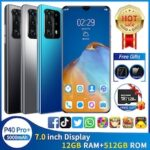 NEW P40 Pro+ Smartphone with 12GB+512GB Large Memory 7.0-inch Full Screen Support Face Unlock 5G Three Card Mobile Phone